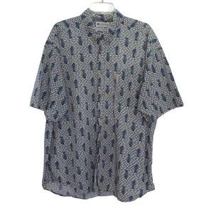 COLUMBIA Button Down Cotton Shirt Fish Bones